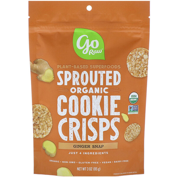 Go Raw, Organic, Sprouted Super Cookies, Ginger Snaps, 3 oz (85 g)