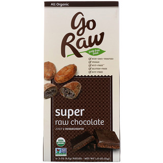 Go Raw, Organic, Super Raw Chocolate, 6 Pieces, .3 oz (8.5 g) Each