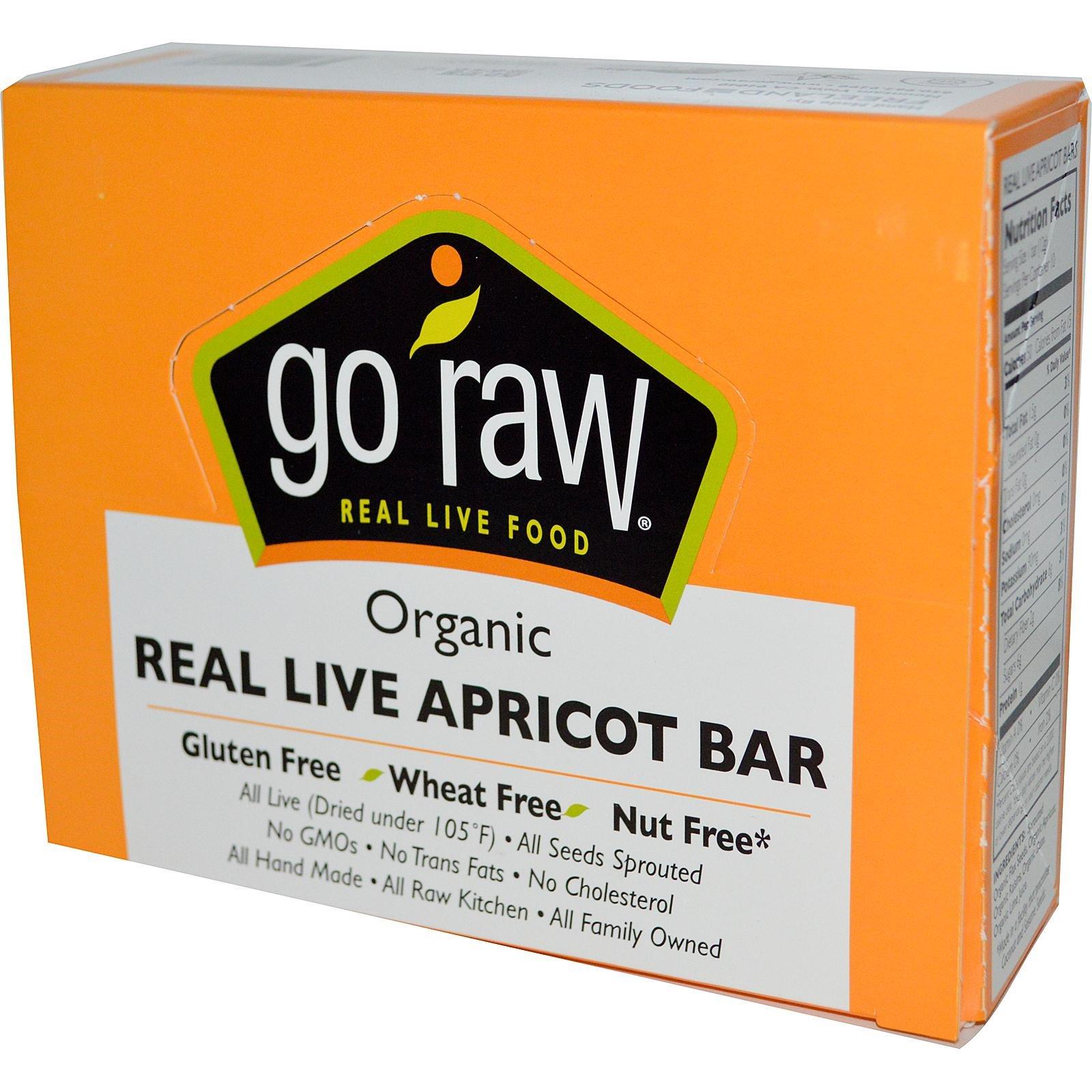 Go Raw, Органические батончики с абрикосом, 10 батончиков, 12 г каждый