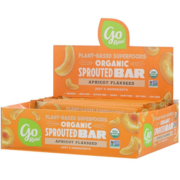 Organic Sprouted Bar, Apricot Flaxseed , 10 Bars, 0.4 oz (11 g) Each