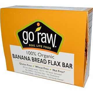 Go Raw, Organic, Banana Bread Flax Bar, 10 Bars, 12 g Each