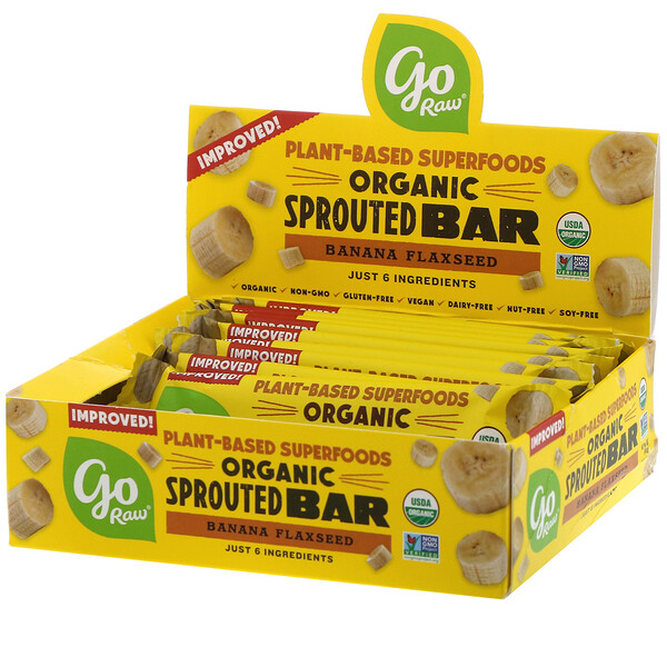 Organic Sprouted Bar, Banana Flaxseed , 10 Bars, 0.4 oz (11 g) Each