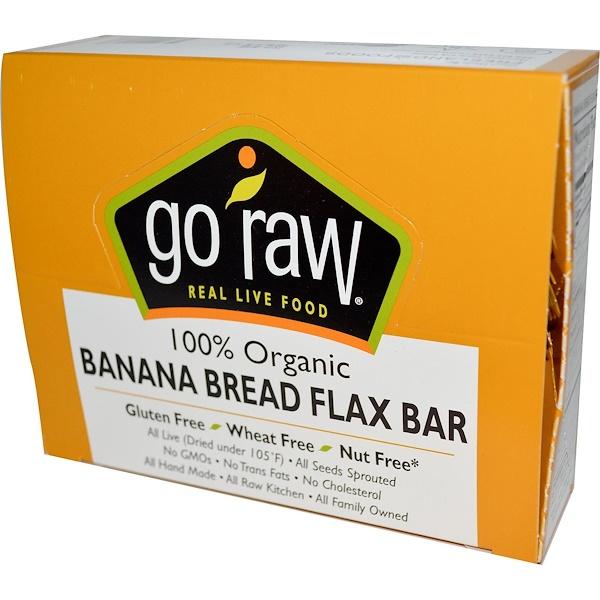 Go Raw, 有機香蕉麵包亞麻籽棒,10條,每條 12 g