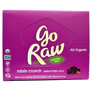 Go Raw, Органические батончики с пророщенным зерном, хрустящие, с изюмом, 10 батончиков по 14 г