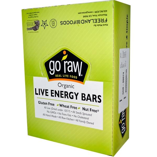Go Raw, Organic, Live Energy Bar, Spirulina, 25 Bars, 1.7 oz (48 g) Each (Discontinued Item)