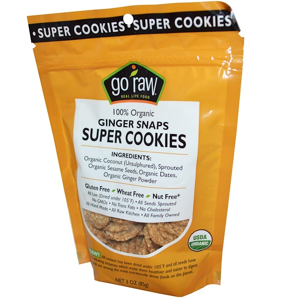 Go Raw, Organic, Super Cookies, Ginger Snaps, 12 Bags, 3 oz (85 g) Each (Discontinued Item)