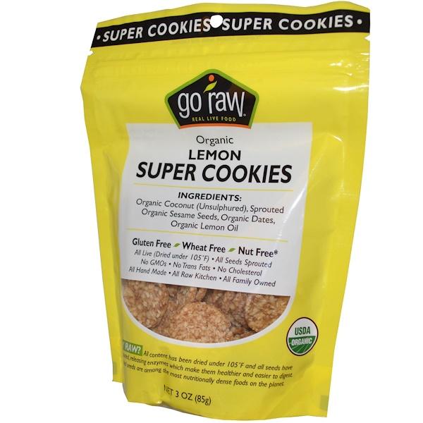 Go Raw, Organic, Super Cookies, Lemon, 12 Bags, 3 oz (85 g) Each (Discontinued Item)