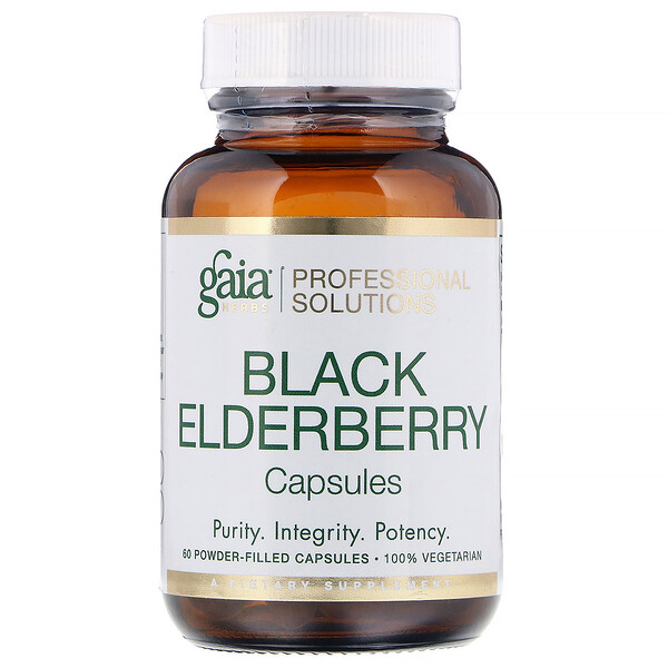 Gaia Herbs Professional Solutions, Black Elderberry, 60 Powder-Filled Capsules