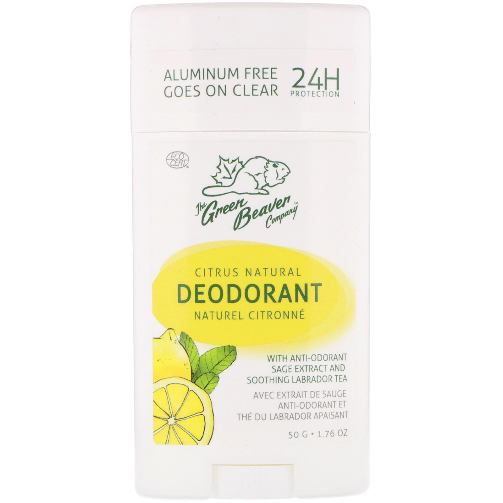 The Green Beaver, Natural Deodorant, Citrus, 1 76 oz (50 g) - iHerb com