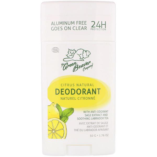 The Green Beaver, Natural Deodorant, Citrus, 1.76 oz (50 g) (Discontinued Item)