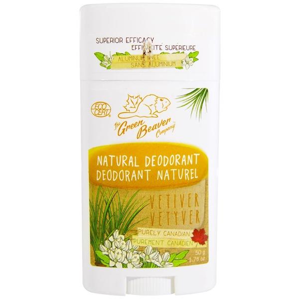 The Green Beaver, Natural Deodorant, Vetiver, 1.76 oz (50 g)
