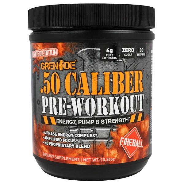 Grenade, .50 Caliber Pre-Workout, Fireball, 10.26 oz (291 g) (Discontinued Item)