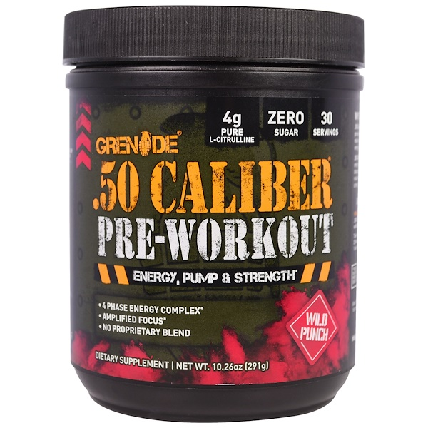 Grenade, .50 Caliber Pre-Workout, Wild Punch, 10.26 oz (291 g) (Discontinued Item)