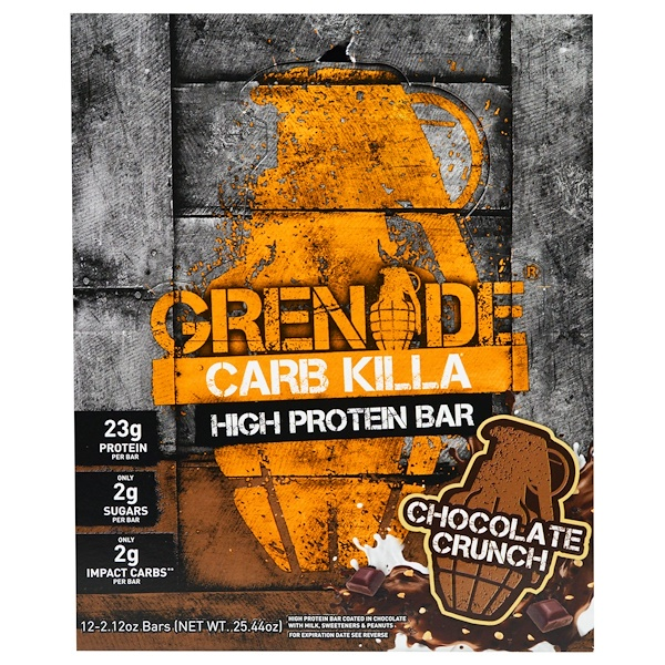 Grenade, Carb Killa Bars, Chocolate Crunch, 12 Bars, 2.12 oz (60 g) Each
