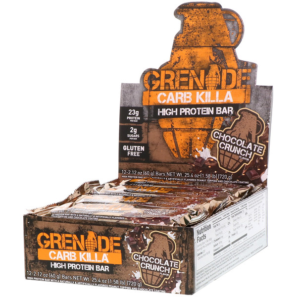 Grenade, Carb Killa High Protein Bar, Chocolate Crunch, 12 Bars, 2.12 oz (60 g) Each (Discontinued Item)