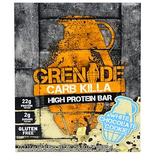 Grenade, Carb Killa Bars, White Chocolate Cookie, 12 Bars, 2.12 oz (60 g) Each