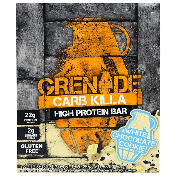 Grenade, Carb Killa營養條,白巧克力餅乾,12條,每條2、12盎司(60克)