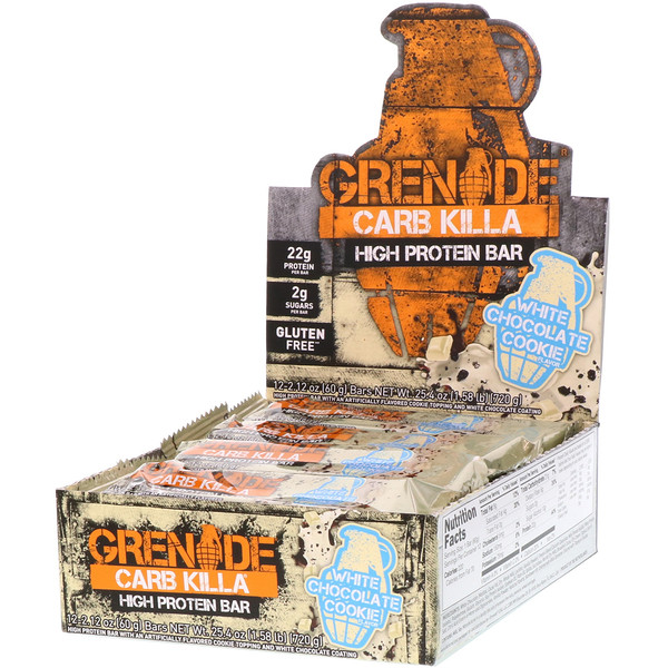 Grenade, Carb Killa, High Protein Bar, White Chocolate Cookie, 12 Bars, 2.12 oz (60 g) Each (Discontinued Item)