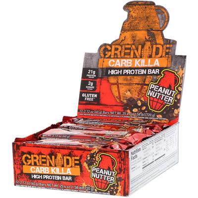 Grenade Carb Killa, High Protein Bars, Peanut Nutter, 12 Bars, 2.12 oz (60 g) Each