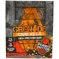 Grenade, Carb Killa Bars, Peanut Nutter, 12 Bars, 2.12 oz (60 g) Each