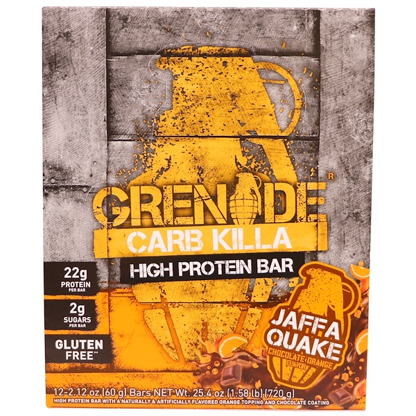 Grenade, High Protein Bar, Chocolate Orange, 12 Bars, 2.12 oz (60 g) Each