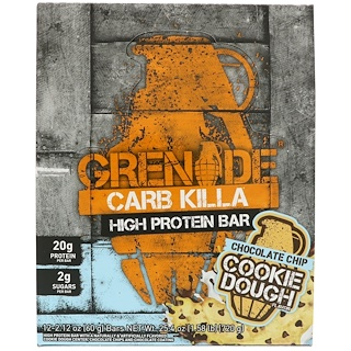 Grenade, Carb Killa, High Protein Bar, Chocolate Chip Cookie Dough, 12 Bars, 2.12 oz (60 g) Each