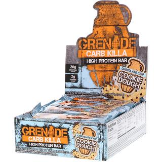 Grenade, Carb Killa, High Protein Bar, Chocolate Chip Cookie Dough, 12 Bars, 2.12 oz (60 g) Each