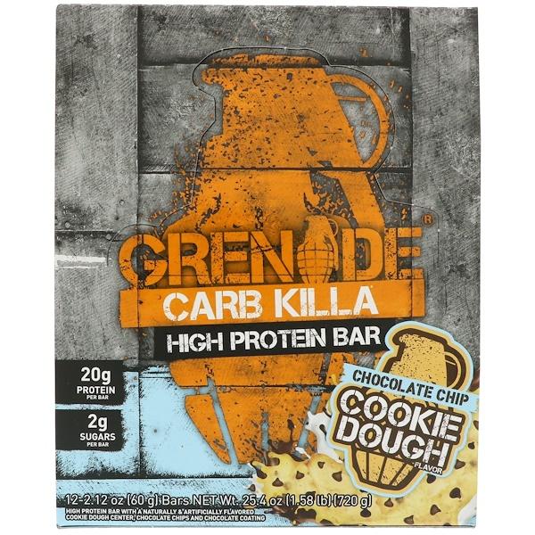 Grenade, Carb Killa,高蛋白條,巧克力餅乾麵團,12條,每條2、12盎司(60克)