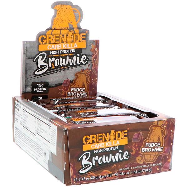 Grenade, Carb Killa Brownie, Fudge Brownie, 12 Bars, 2、12 oz (60 g) Each