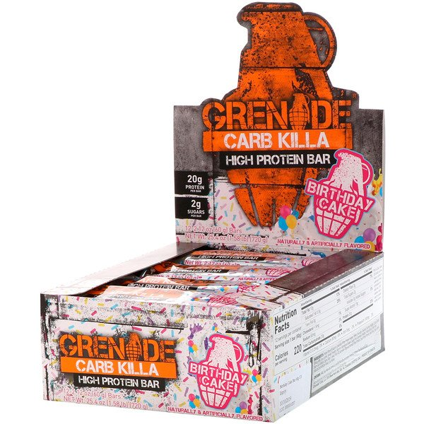 Grenade, Carb Killa High Protein Bars, Birthday Cake, 12 Bars, 2.12 oz (60 g) Each (Discontinued Item)