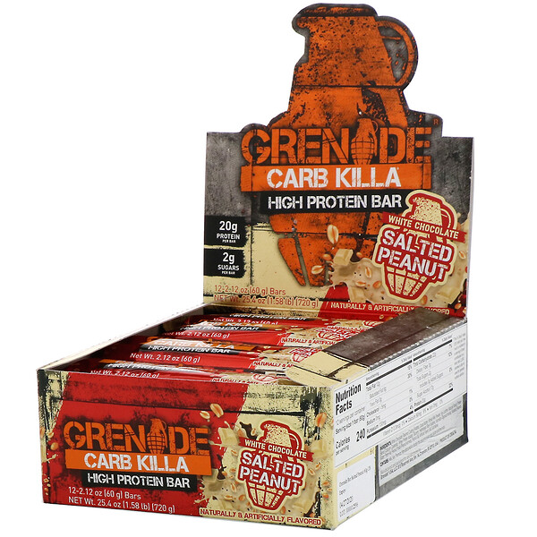 Carb Killa, High Protein Bar, White Chocolate Salted Peanut, 12 Bars, 2.12 oz (60 g) Each