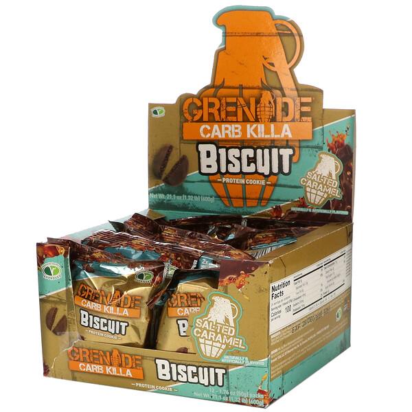 Carb Killa, Biscuit, Salted Caramel, 12 Bars, 1.76 oz (50 g) Each