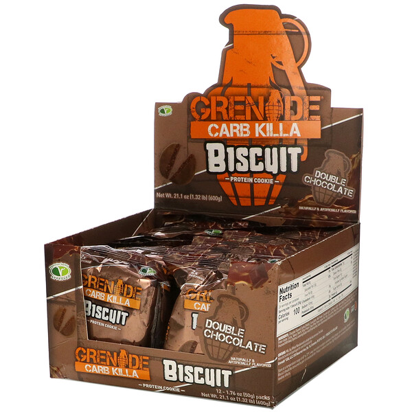 Grenade, Carb Killa, Biscuit, Double Chocolate, 12 Bars, 1.76 oz (50 g) Each (Discontinued Item)