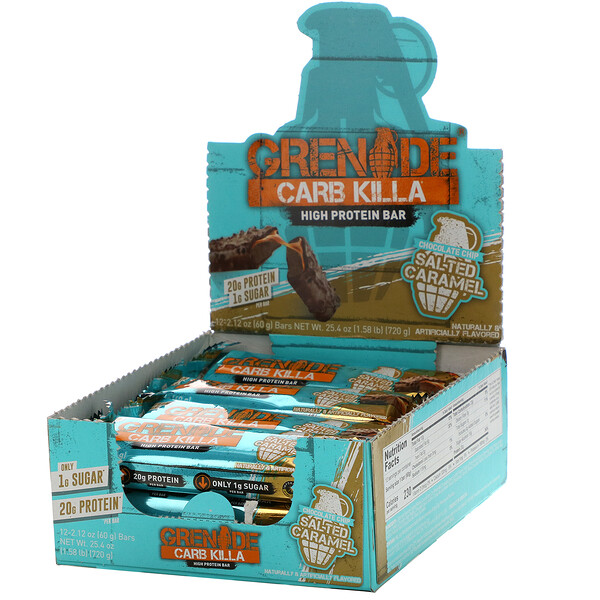 Carb Killa, High Protein Bar, Salted Caramel, 12 Bars, 2.12 oz (60 g) Each