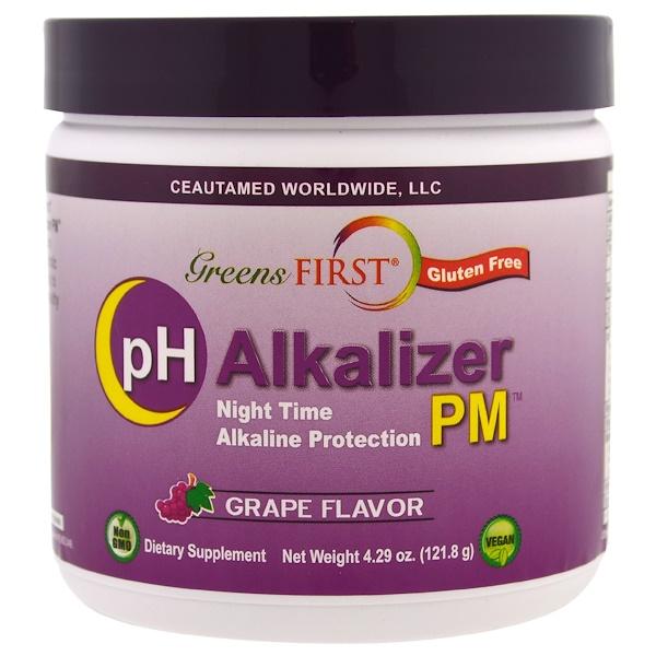 Greens First, pH 鹼化劑,葡萄味,4、29 盎司(121、8 克)