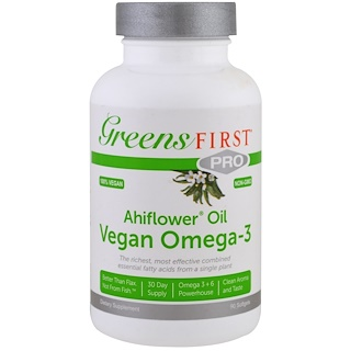 Greens First, Ahiflower Oil, Vegan Omega-3, 90 Softgels
