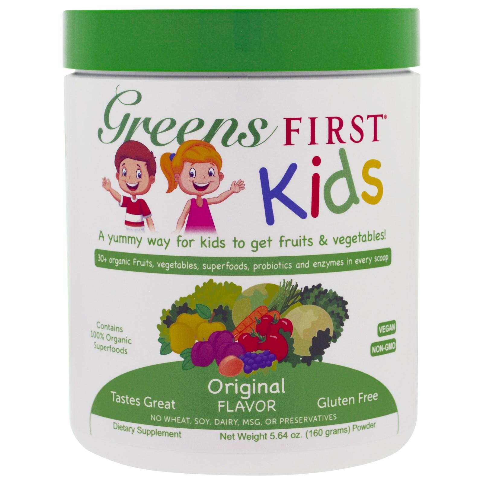 Greens First, Для детей, Коктейль с антиоксидантами и суперфудами, Оригинальный вкус, 5,64 унции (160 г)