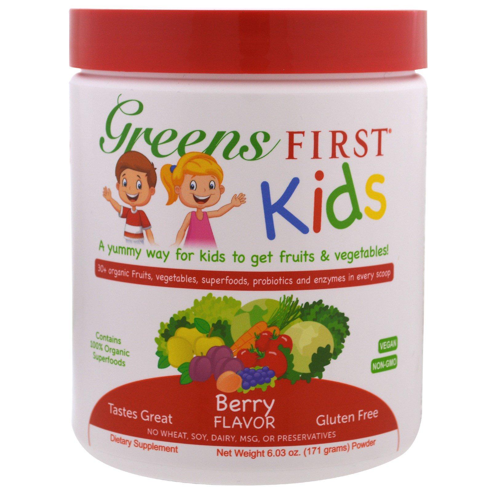 Greens First, Для детей, Коктейль с антиоксидантами и суперфудами, Ягоды, 6,03 унции (171 г)