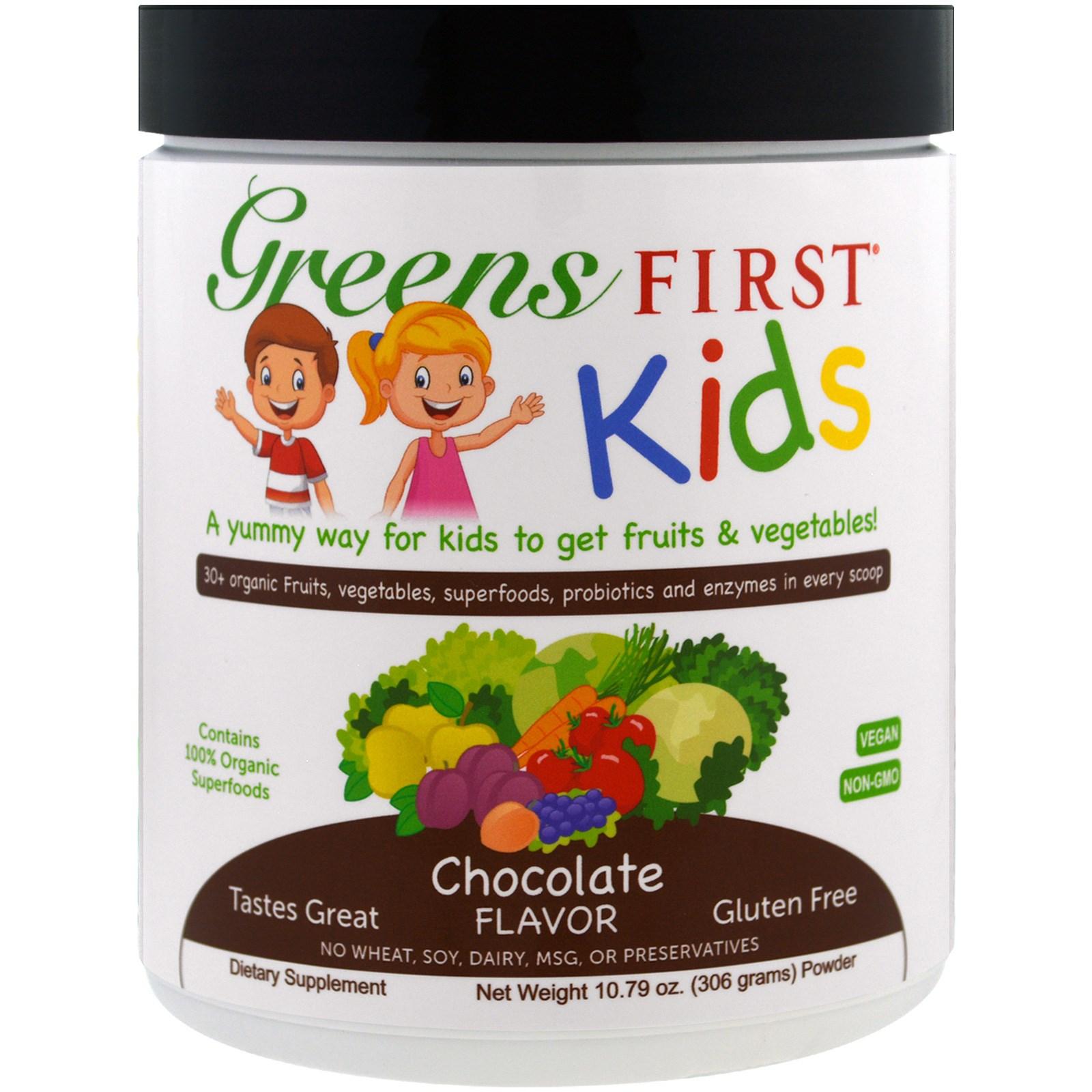 Greens First, Для детей, Коктейль с антиоксидантами и суперфудами, Шоколадный вкус, 10,79 унции (306 г)
