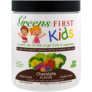 Greens First, Kids, Superfood Antioxidant Shake, Chocolate, 10.79 oz (306 g)