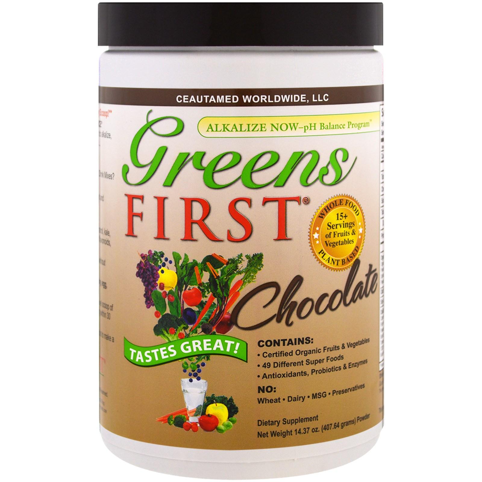 Greens First, Коктейль с антиоксидантами и суперфудами, Шоколадный вкус, 14,37 унции (407,64 г)