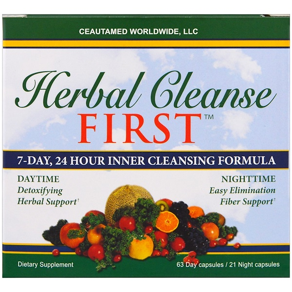 Greens First, Herbal Cleanse First, 7-Day, 24 Hour Inner Cleansing Formula, 63 Days Capsules / 21 Night Capsules