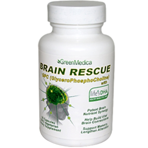 Green Medica, Brain Rescue, GPC (GlyceroPhosphoCholine) with Life's DHA, 60 Capsules (Discontinued Item)