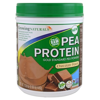 Growing Naturals, Pea Protein, Chocolate Power, 15.8 oz (449 g)