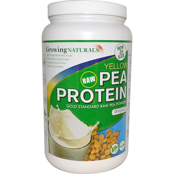 Growing Naturals, Yellow Raw Pea Protein, Original, 2.01 lbs (912 g)