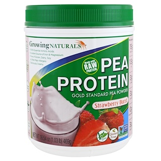 Growing Naturals, Pea Protein, Strawberry Burst, 16.54 oz (469 g)