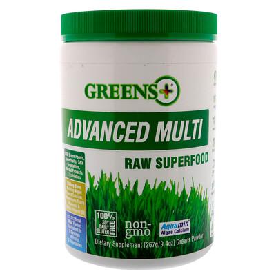 Greens Plus Усовершенствованный суперпродукт, порошок из сырых овощей и зелени , 9.4 унций (276 г)