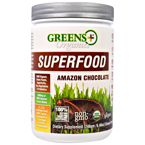 Greens Plus, Organics Superfood, Amazon Chocolate, 8.46 oz (240 g) (Discontinued Item)