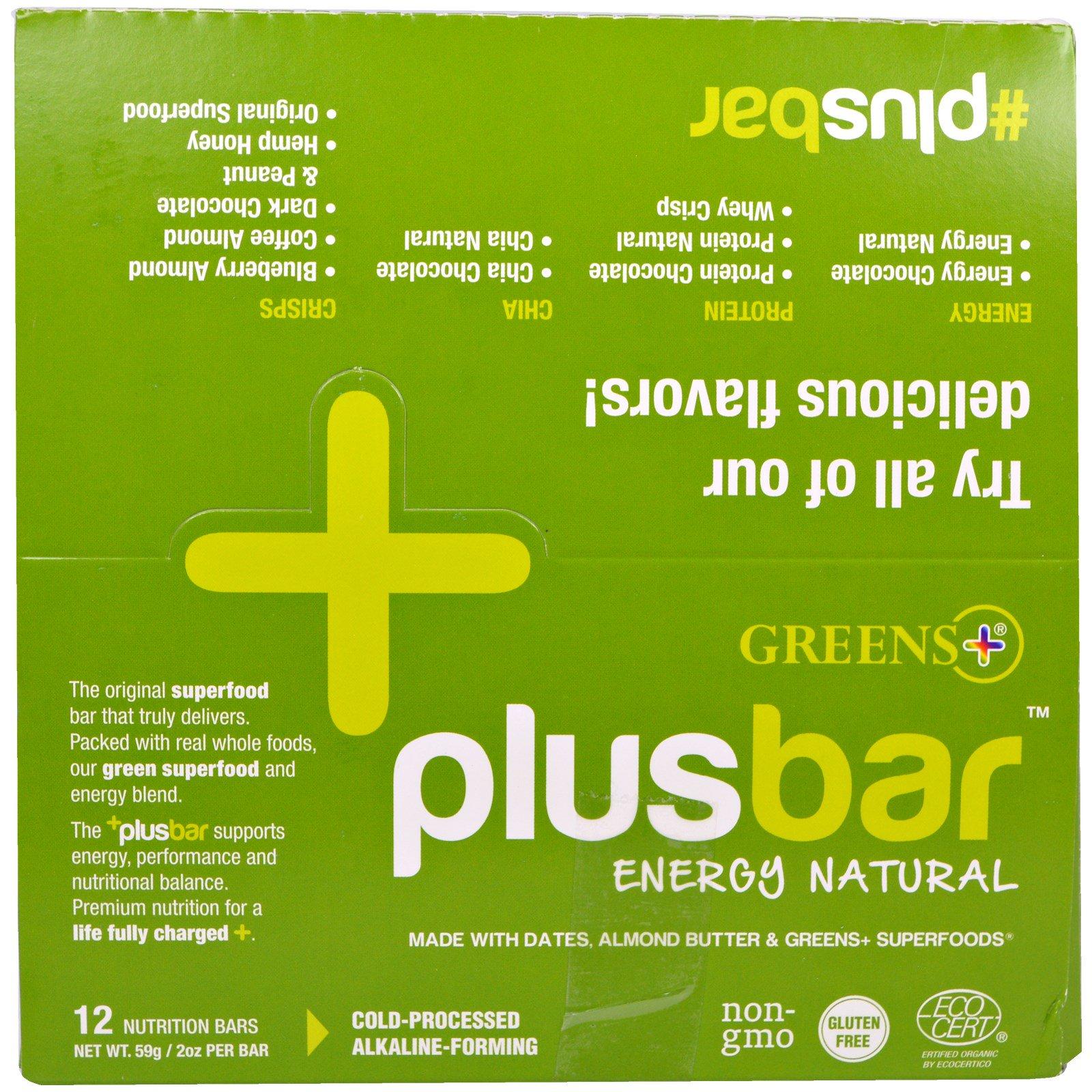 Greens Plus, Plusbar, естественная энергия, 12 батончиков, 59 г каждый