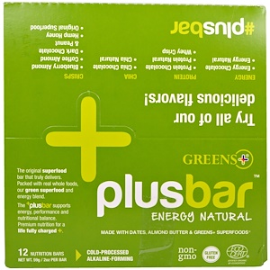Гринс Плас, Plusbar, Energy Natural, 12 Bars, 2 oz (59 g) Each отзывы покупателей